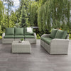 6pc Weather Resistant Sofa and Loveseat with Square Coffee Table
