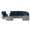 6pc Weather Resistant Curved Sectional with Oval Coffee Table