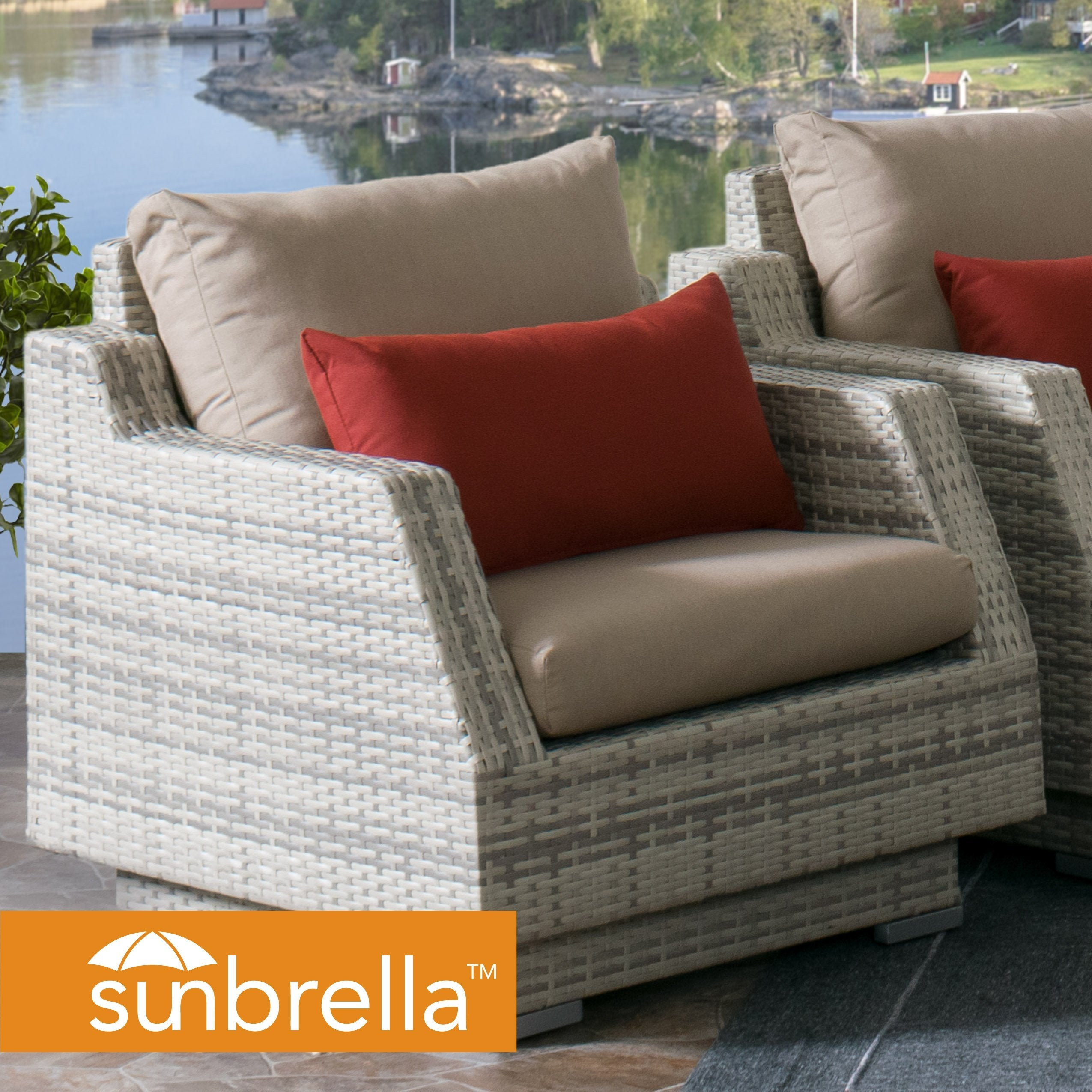 Outdoor Patio Wicker Armchair With Beige Sunbrella Cushions