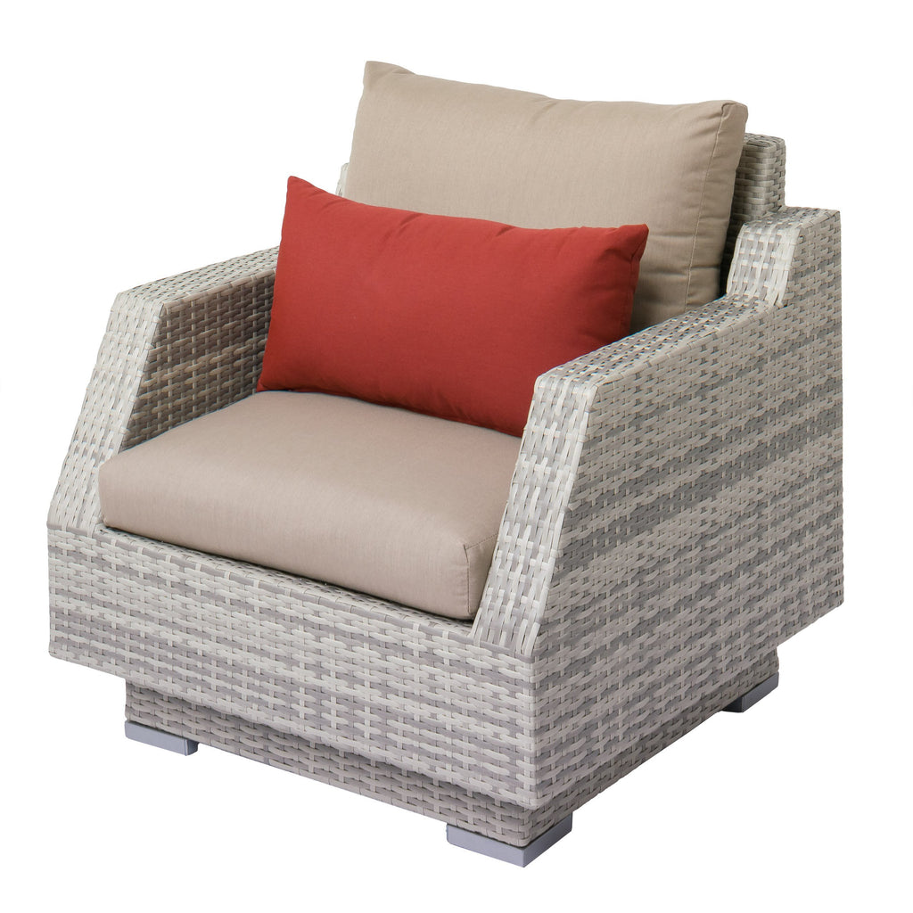 Outdoor Patio Wicker Armchair with Beige Sunbrella Cushions - *CLEARANCE*