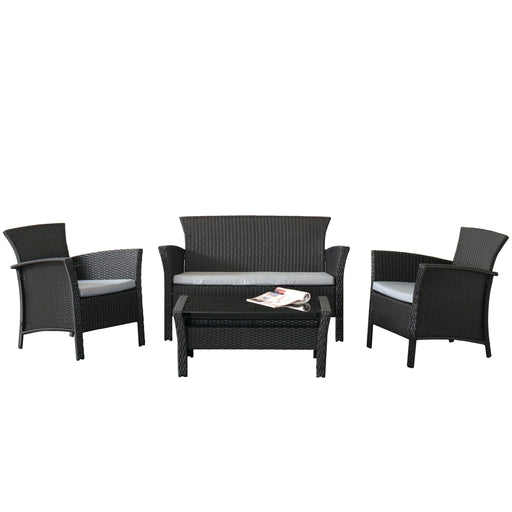 4 Piece Patio Set in Black Rope Weave