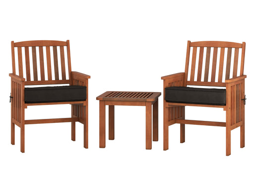 3 Piece Cinnamon Brown Hardwood Outdoor Chair and Side Table Set