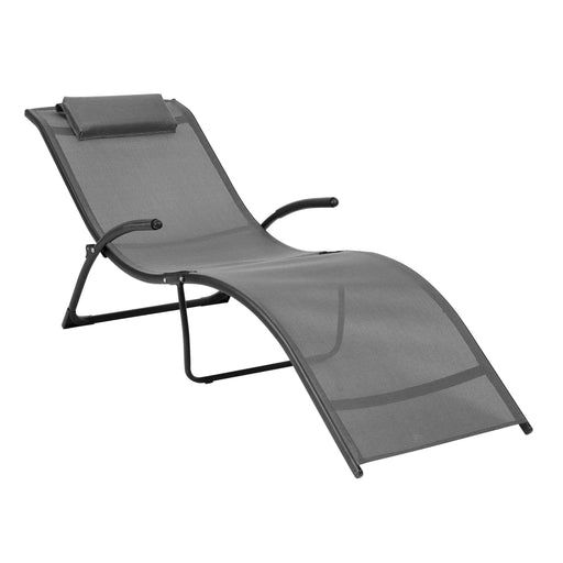 Folding Reclined Lounger in Black and Silver Grey - *CLEARANCE*