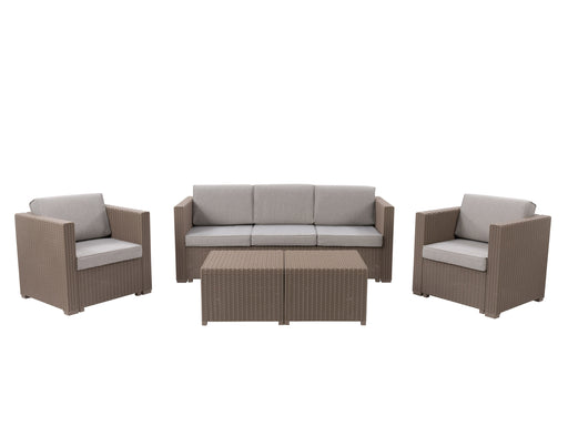 Lake Front Rattan Patio Sectional Set, 5pc