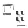 Park Terrace Patio Dining Set in Charcoal Black Rope Weave 5pc