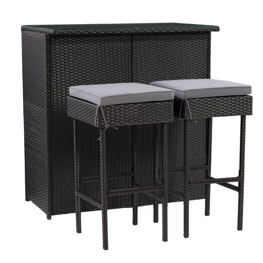 Parksville Patio Bar Set - Black Finish/Ash Grey Cushions 3pc