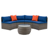 Parksville Patio Sectional Set- Blended Grey Finish/Oxford Blue Cushions 3pc