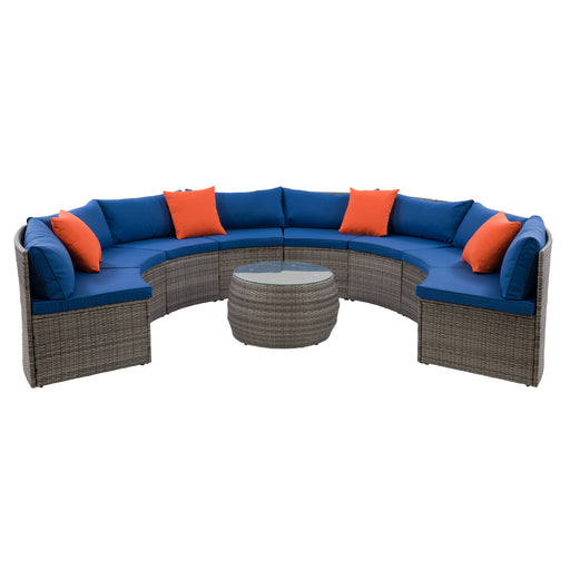 Parksville Patio Sectional Set- Blended Grey Finish/Oxford Blue Cushions 5pc - *SHIPS By 4/15/21*