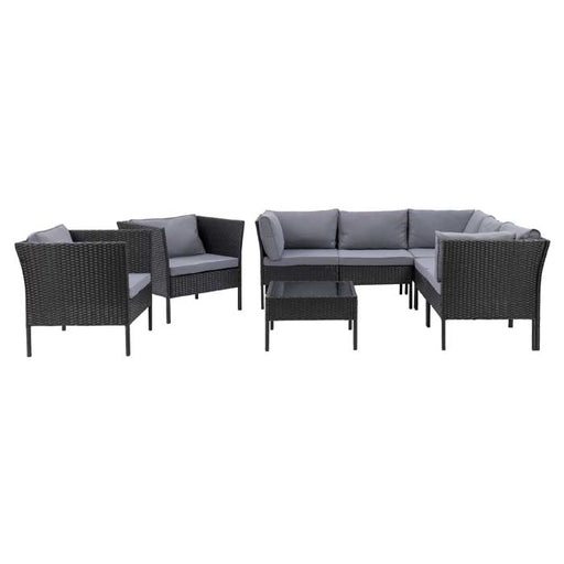 Parksville L-Shaped Patio Sectional Set with 2 Chairs 8pc - *SHIPS By 4/15/21*