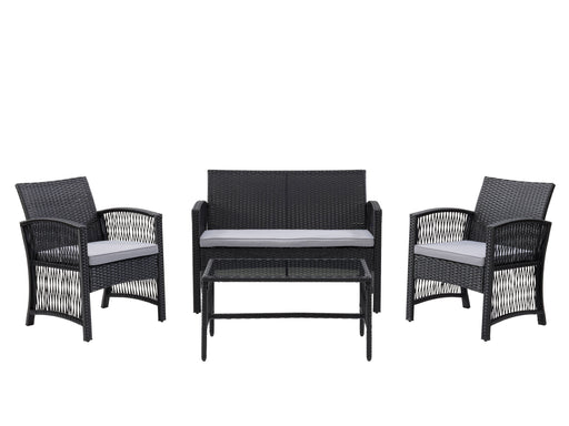 Parksville Black Rattan Flared Sofa Set, 4pc