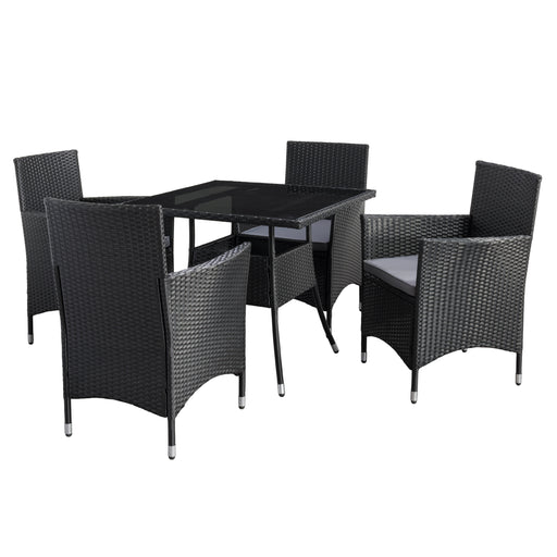 Parksville Square Patio Dining Set - Black Finish/Ash Grey Cushions 5pc