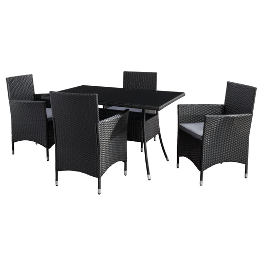 Parksville Rectangle Patio Dining Set - Black Finish/Ash Grey Cushions 5pc