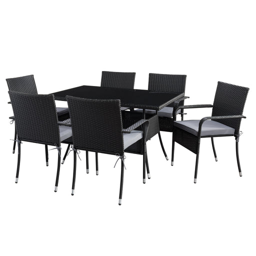 Parksville Rectangle Patio Dining Set with Stackable Chairs - Black Finish/Ash Grey Cushions 7pc