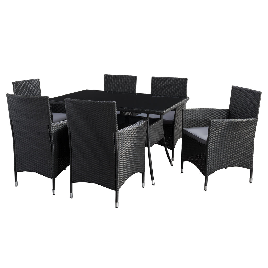 Parksville Rectangle Patio Dining Set - Black Finish/Ash Grey Cushions 7pc