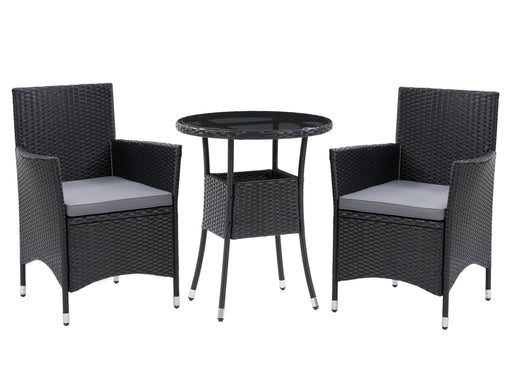 Parksville Black Rattan Bistro Dining Set 3pc *SHIPS by 4/18/21*
