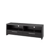 TV Stand in Black Faux Wood Grain Finish, for TVs up to 70""