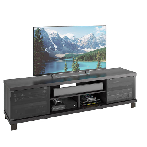 Holland Black Wooden Extra Wide TV Stand, for TVs up to 80""