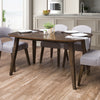 Tiffany Stained Wood Dining Table with Rounded Corners and Tapered Legs