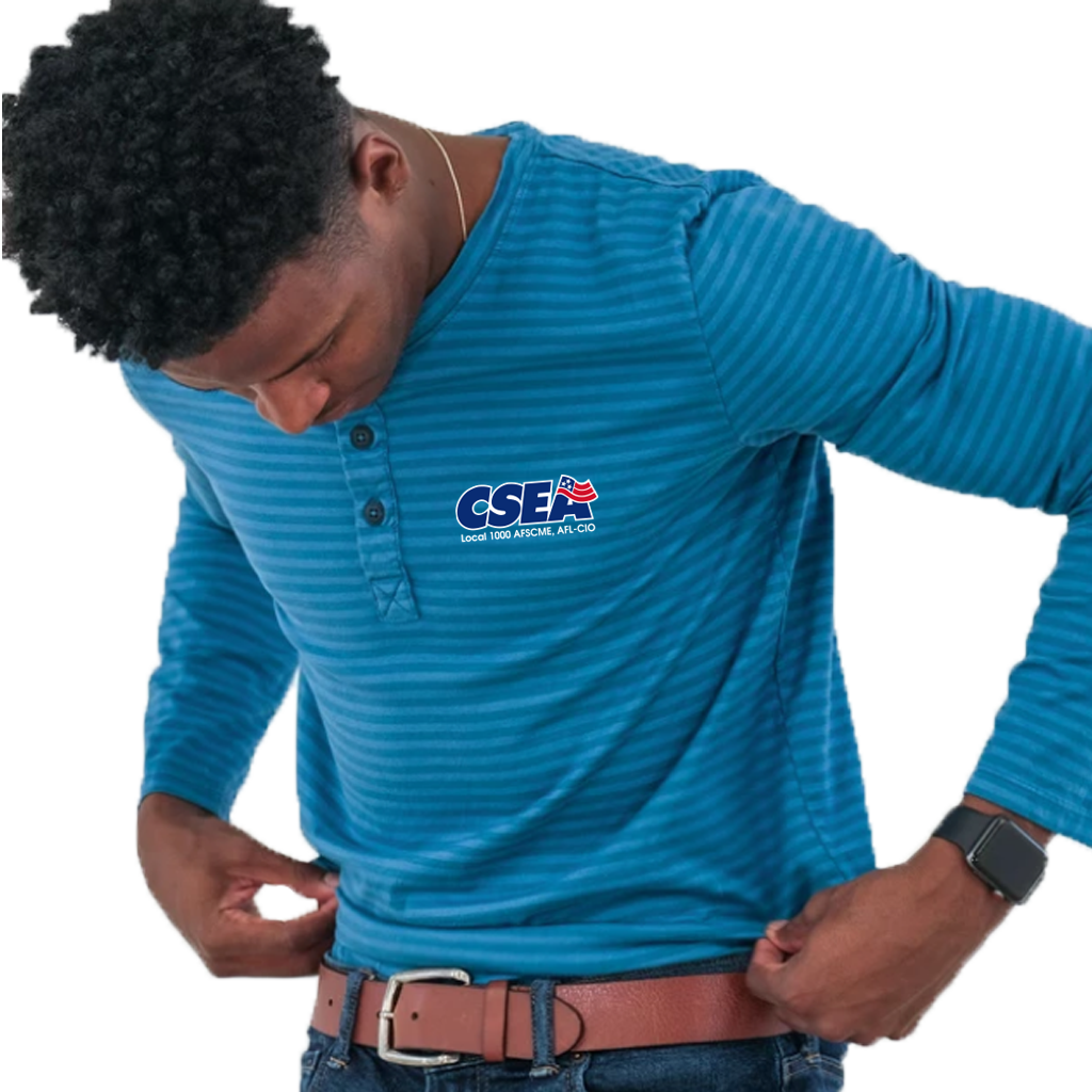 Ocean Blue Cotton Jersey Henley