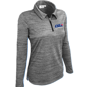 Ladies' Long Sleeve 1/4 Zip Polo - Charcoal