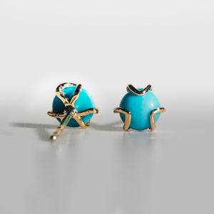 Fiore gold Turquoise earrings Hannah Daye & Co