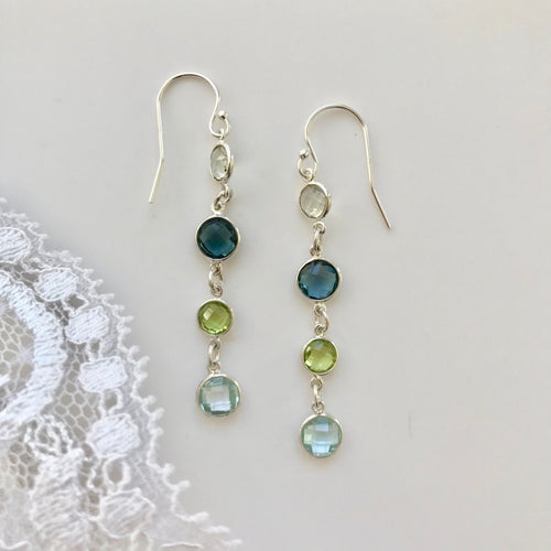 Cascade Earrings Four Stone Ocean Hannah Daye & Co