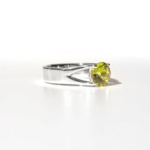 Load image into Gallery viewer, Brillante Ring Peridot Sterling Side view Hannah Daye & Co