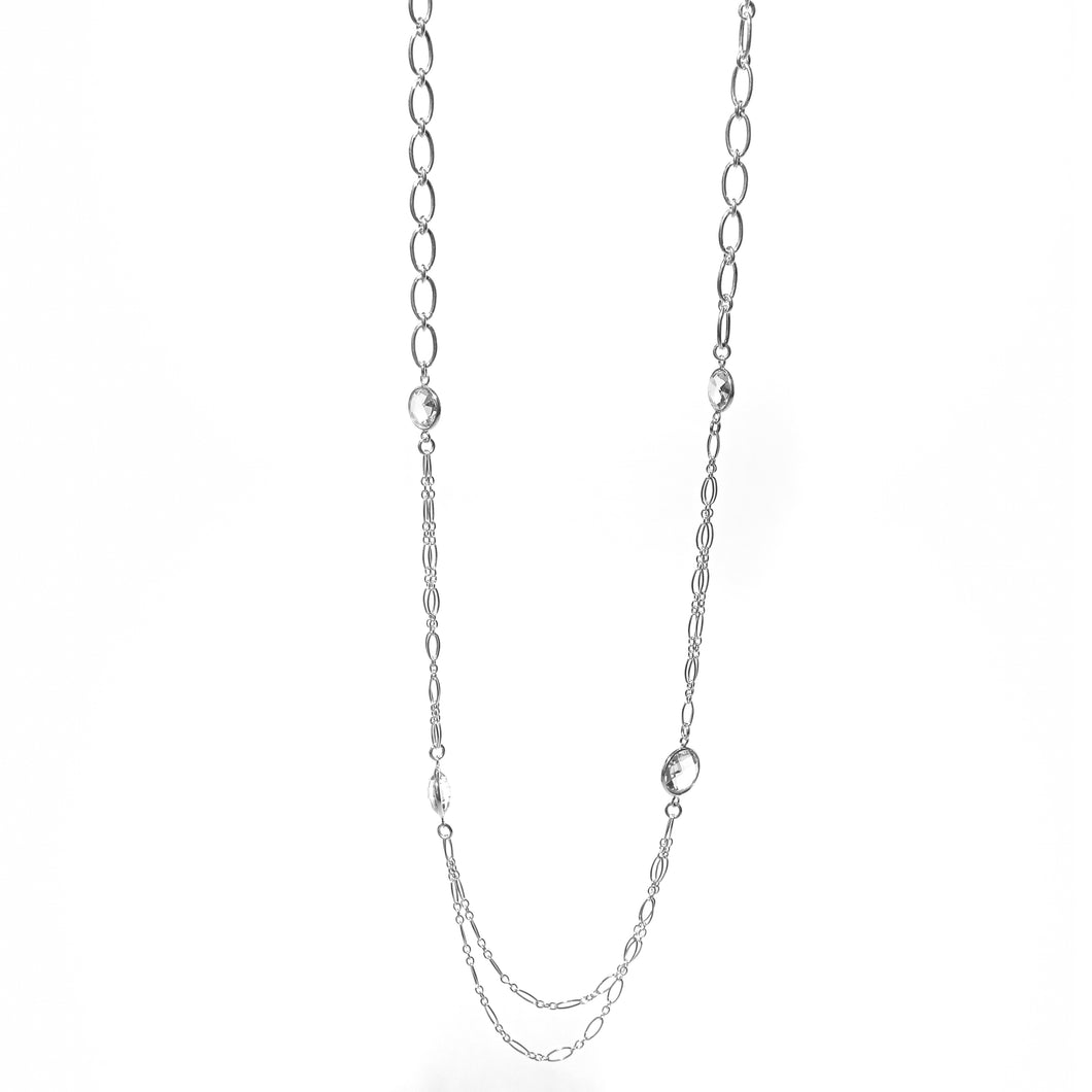 Cascade Four Necklace with double chain in Crystal Quartz sterling silver pendant Hannah Daye & Co