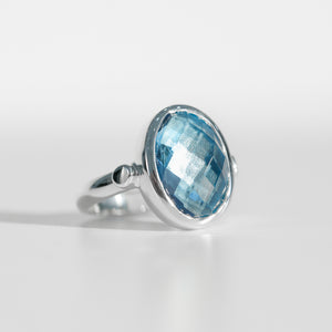 Sabine Ring Swiss Blue Topaz North South  Hannah Daye & Co