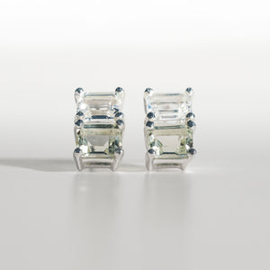 Lexington Earrings Mint Quartz an White Topaz front view Hannah Daye & Co