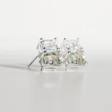 Load image into Gallery viewer, Lexington Earrings Mint Quartz an White Topaz angled view Hannah Daye & Co