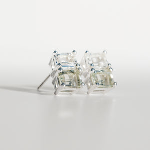 Lexington Earrings Mint Quartz an White Topaz angled view Hannah Daye & Co