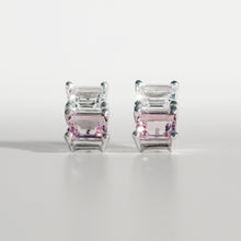 Load image into Gallery viewer, Lexington Earrings Rose of France and White Topaz front view Hannah Daye & Co