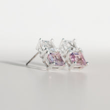 Load image into Gallery viewer, Lexington Earrings Rose of France and White Topaz angled view Hannah Daye & Co