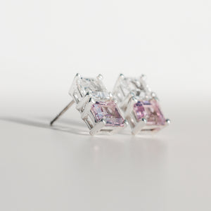 Lexington Earrings Rose of France and White Topaz angled view Hannah Daye & Co