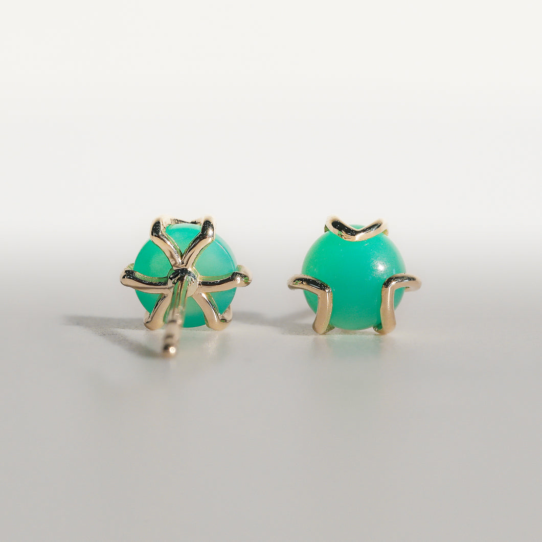 Fiore Earrings in Mint Chrysoprase in 14k gold Hannah Daye & Co