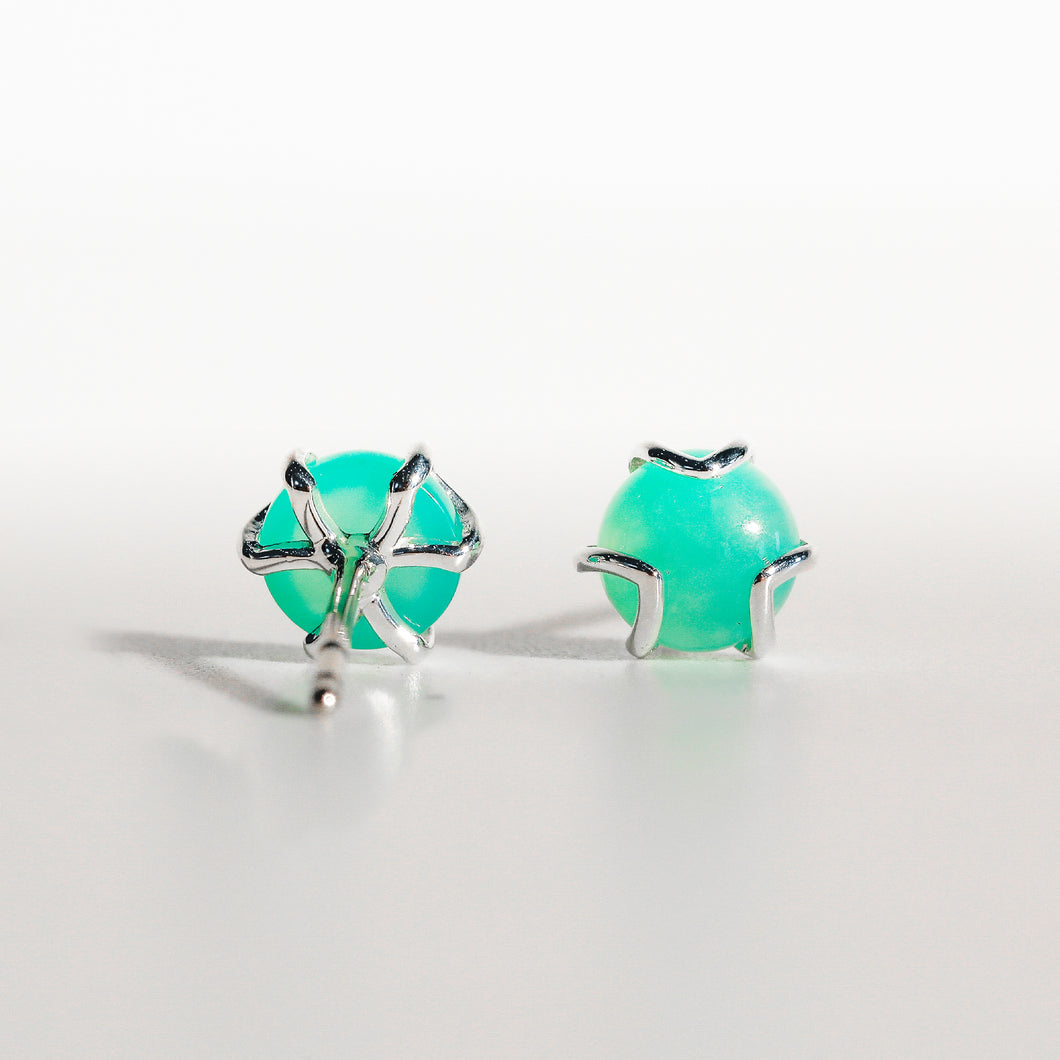 Fiore Earrings in Mint Chrysoprase in Sterling Silver Hannah Daye & Co