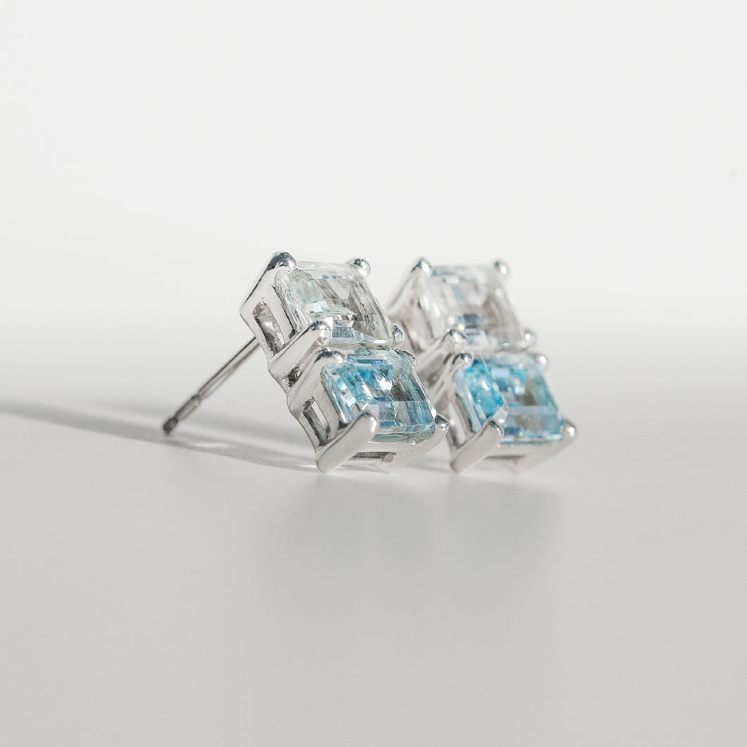Lexington Earrings White Topaz and Sky Blue Topaz in sterling silver Hannah Daye & Co