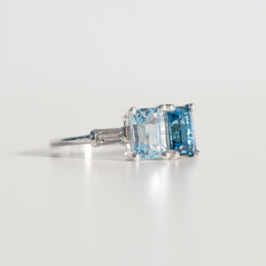 Lexington Ring emerald-cut London Blue Topaz and Sky Blue Topaz and White Topaz baguettes in sterling silver