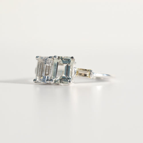 Lexington Ring emerald-cut Mint Quartz and White Topaz and Lemon Quartz baguettes in sterling silver