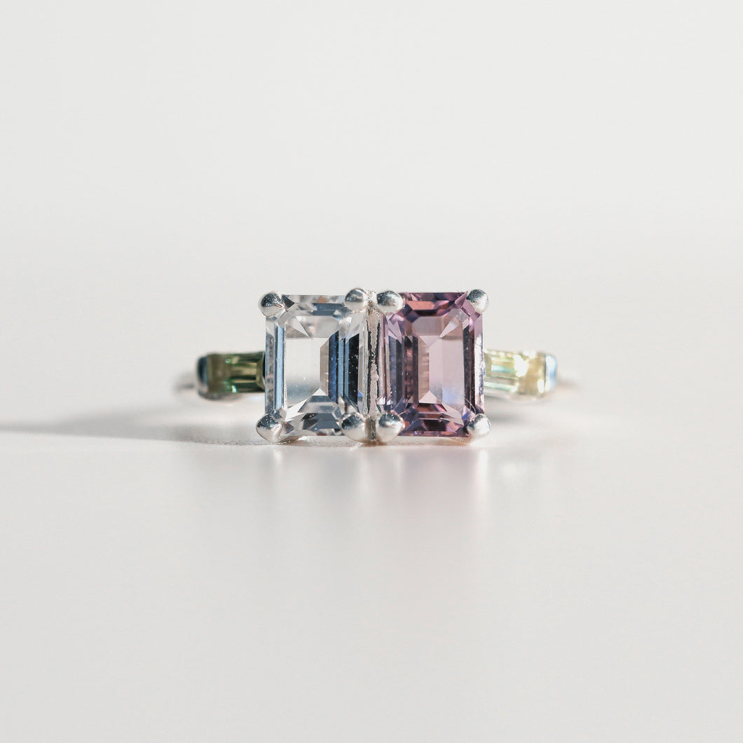 Lexington Ring emerald-cut Rose of France and White Topaz and Lemon Quartz baguettes in sterling silver