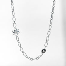 Load image into Gallery viewer, Cascade Infinity Necklace in Hematite and Moonstone in Sterling Silver Hannah Daye & Co