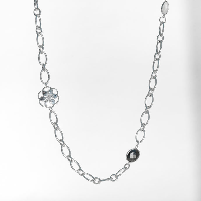 Cascade Infinity Necklace in Hematite and Moonstone in Sterling Silver Hannah Daye & Co