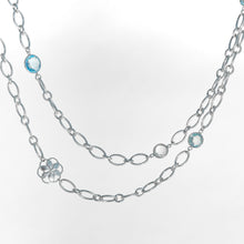 Load image into Gallery viewer, Cascade Infinity Necklace in Blue Topaz and Crystal Quartz in Sterling Silver Hannah Daye & Co