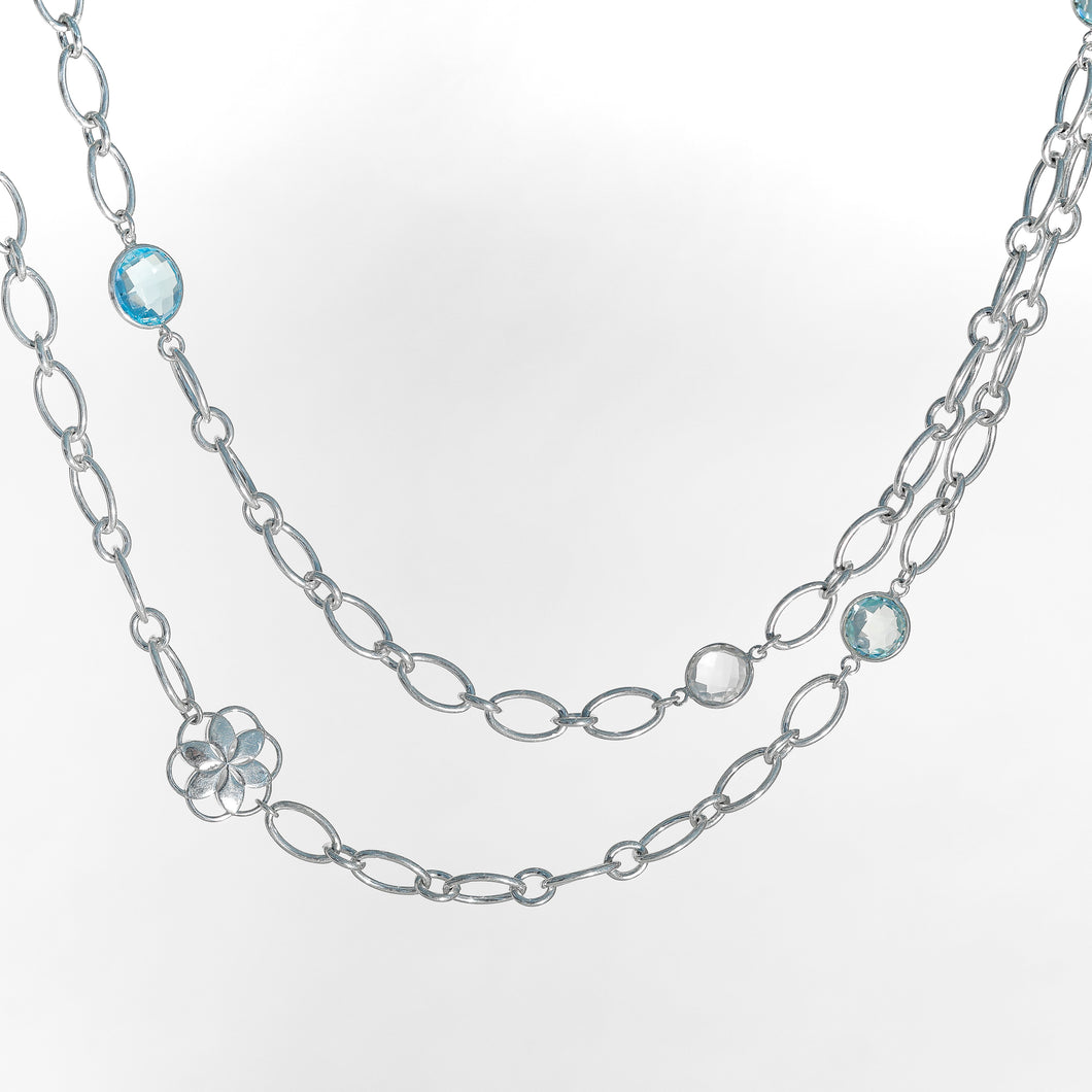 Cascade Infinity Necklace in Blue Topaz and Crystal Quartz in Sterling Silver Hannah Daye & Co