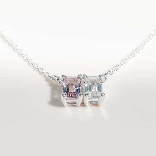 Lexington Necklace Rose of France and White Topaz in sterling silver Hannah Daye & Co