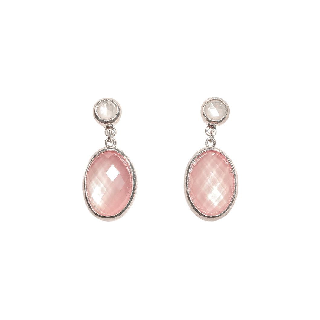 Sabine Earrings in White Mother of Pearl double with Crystal Quartz and Rose Quartz in sterling silver Hannah Daye & Co