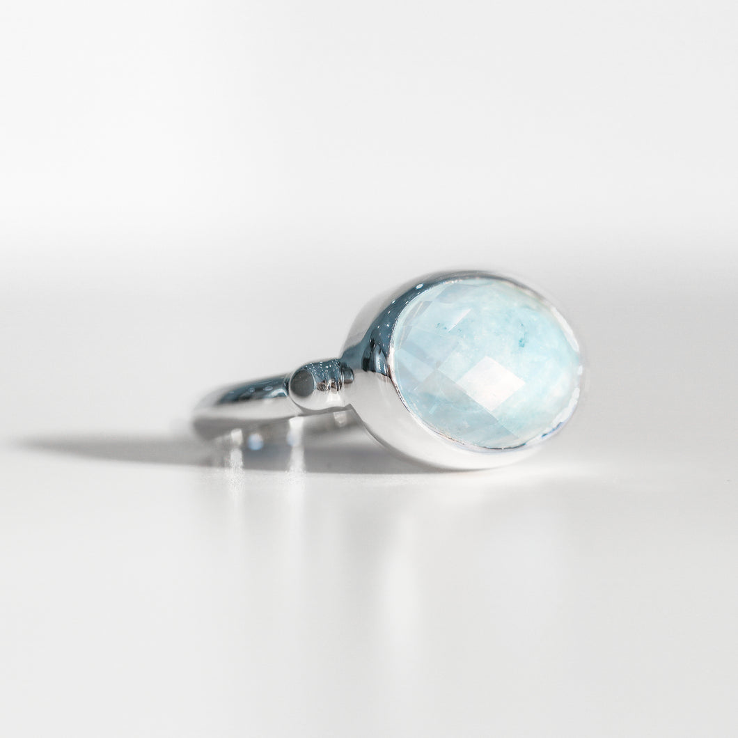 Sabine Ring Milky Aquamarine in sterling silver Hannah Daye & Co