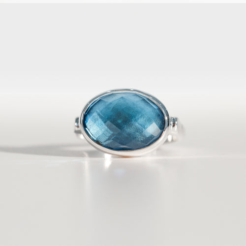 Sabine Ring Swiss Blue Topaz in sterling silver Hannah Daye & Co