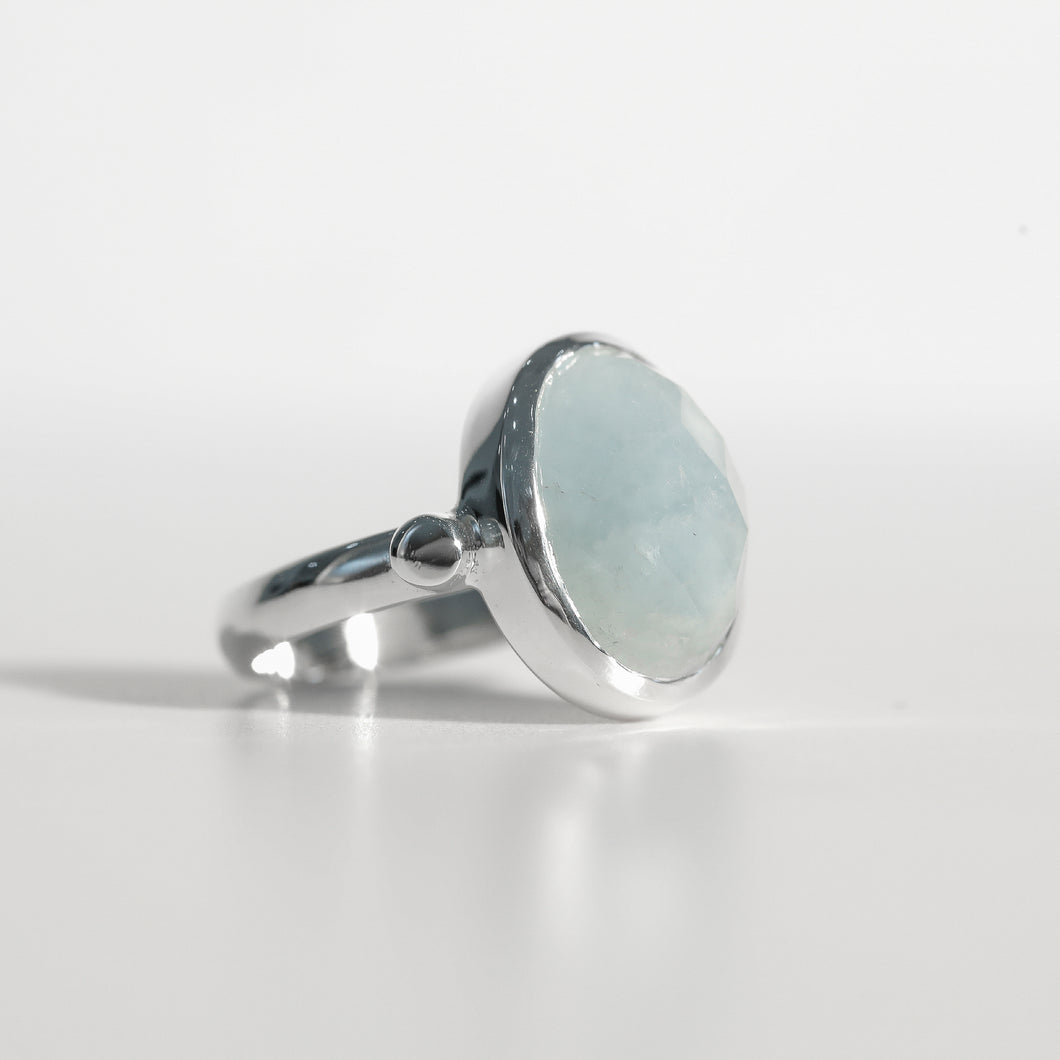 Sabine Ring Aquamarine in sterling silver Hannah Daye & Co